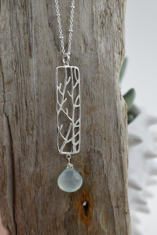 Linear Branches Silver Necklace With Aqua Chalcedony Quartz Drop - Matching earrings available