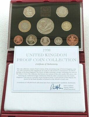 1998 UK Great Britain DELUXE Proof Set 10 Coins RED Case  box w// COA