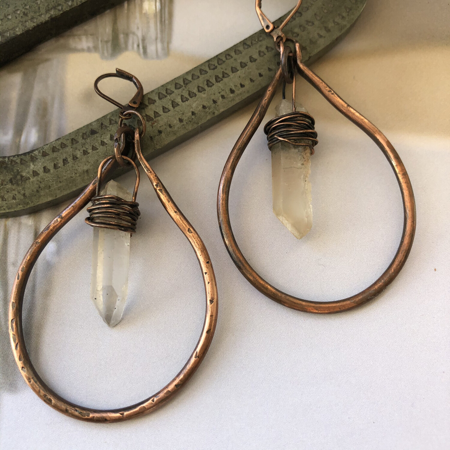 Copper and Crystal Hoops