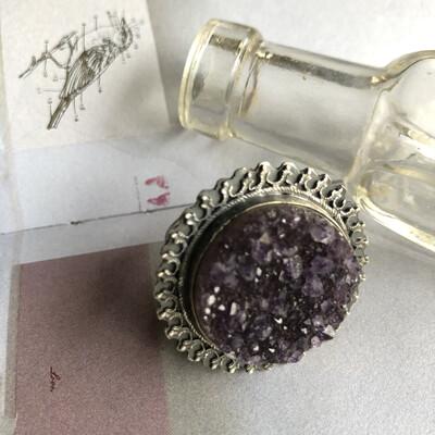 Sterling Amethyst Druzy Ring