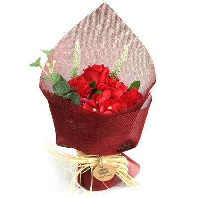 Standing Soap Flower Bouquet -Red