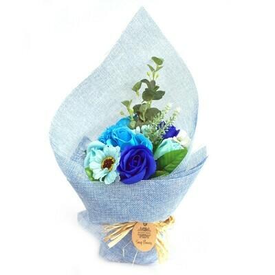 Standing Soap Flower Bouquet -Blue