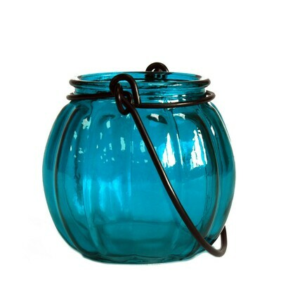 Recycled Pumpkin Candle Lantern - Teal