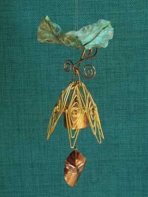 Hanging Bellflower Chime with Patina Leaf Gold