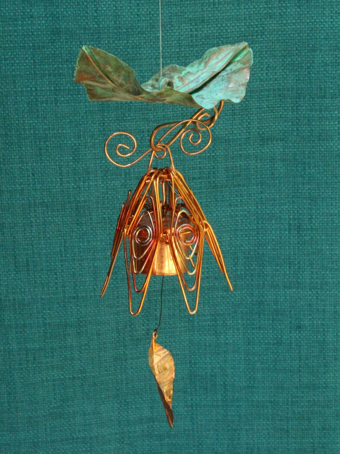 Hanging Bellflower Chime with Patina Leaf Flamed