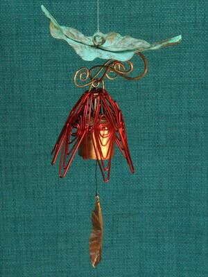 Hanging Bellflower Chime with Patina Leaf Red