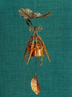 Hanging Bellflower Chime with Dappled Leaf Flamed