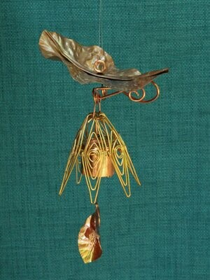 Hanging Bellflower Chime with Dappled Leaf Gold