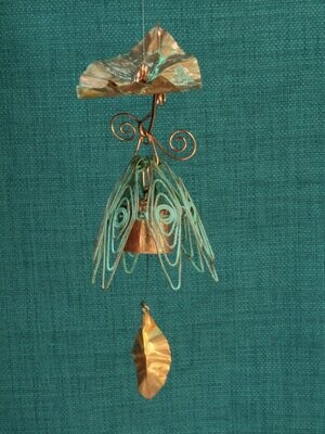 Hanging Bellflower Chime with Dappled Leaf Rustic Blue