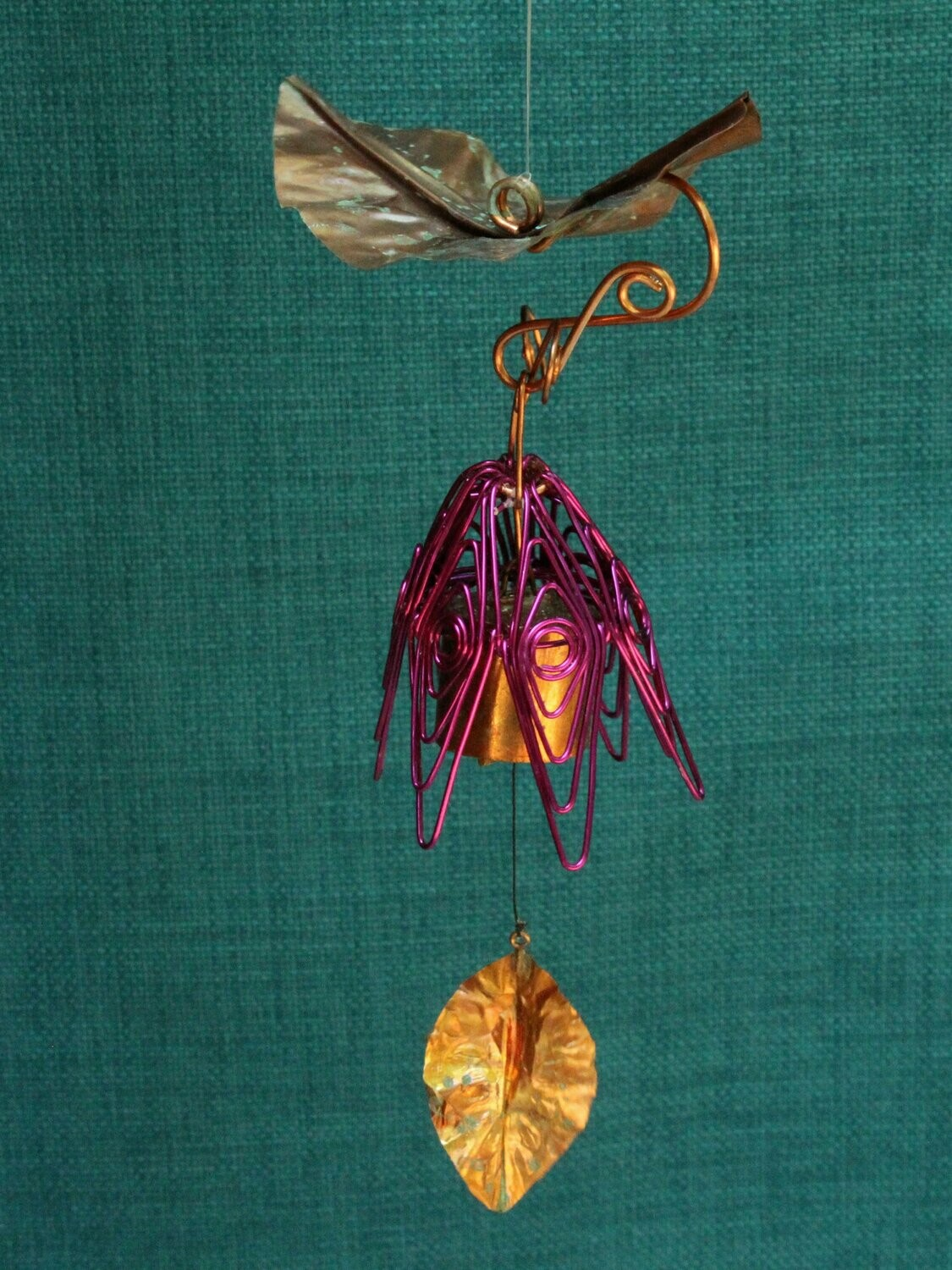 Hanging Bellflower Chime with Dappled Leaf Amethyst