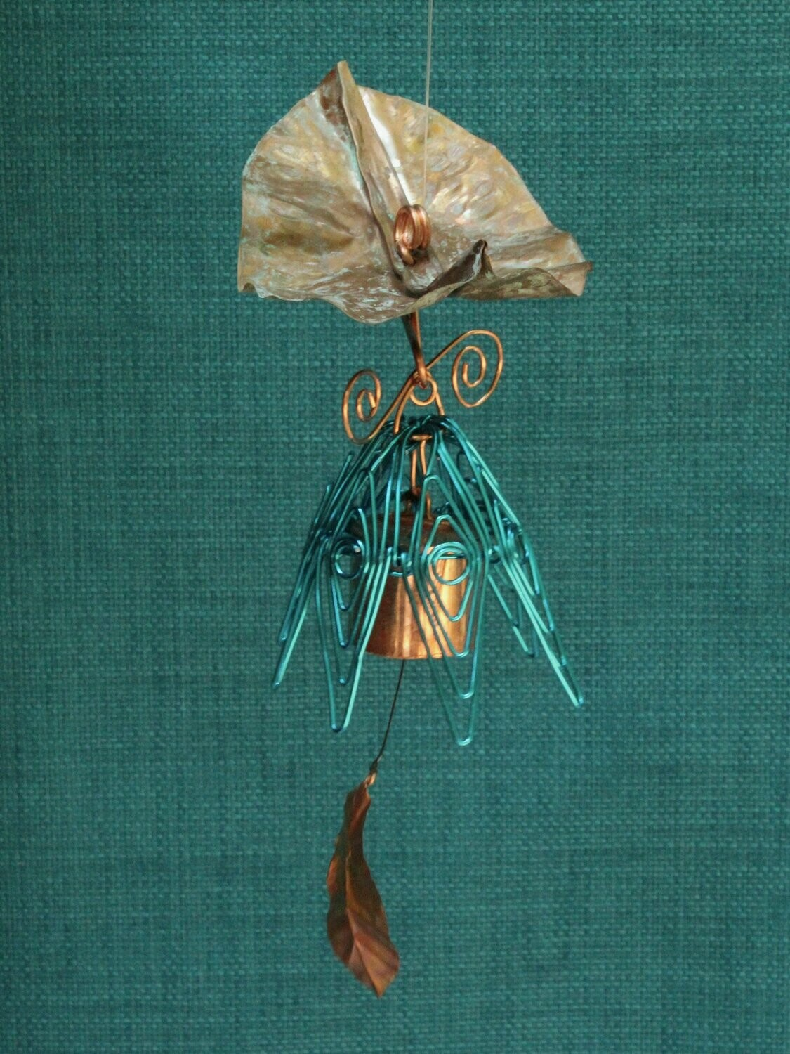 Hanging Bellflower Chime with Dappled Leaf Peacock