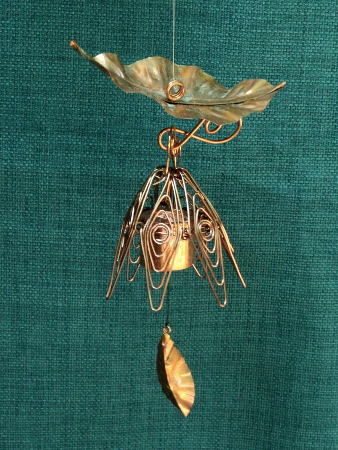 Hanging Bellflower Chime with Dappled Leaf Silver Pink