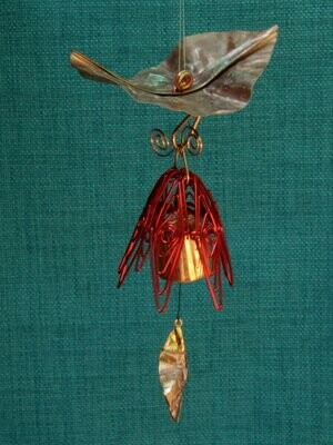 Hanging Bellflower Chime with Dappled Leaf Red