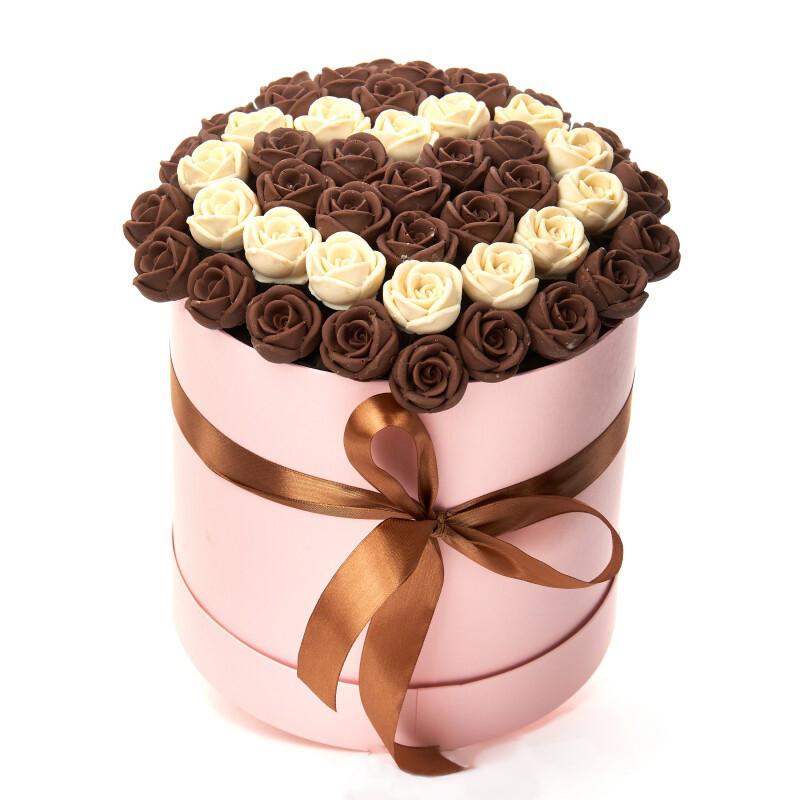 Коробка розовая 47 роз