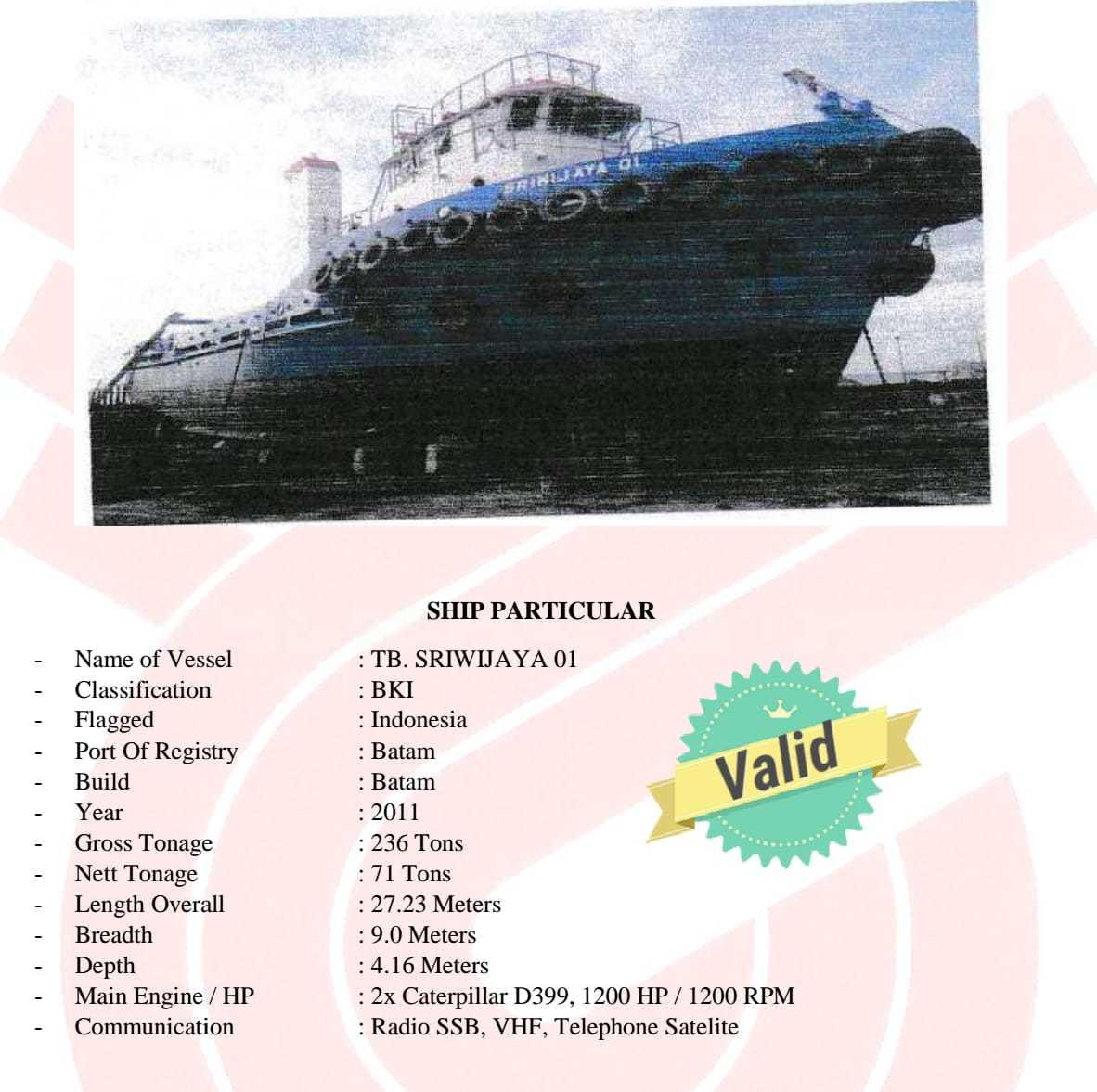 Tuggboat dan barge 2012 300 feet 2011 0000000444444