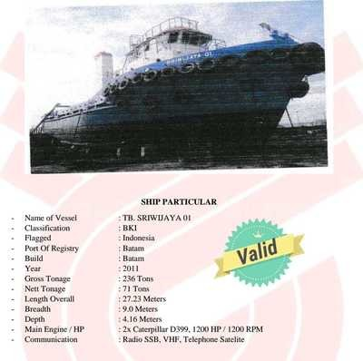 Tuggboat dan barge 2012 300 feet 2011