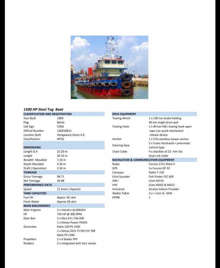 Tuggboat dan barge 300 feet tahun 1989