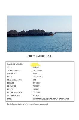tuggboat dan barge 270 feet tahun 2011