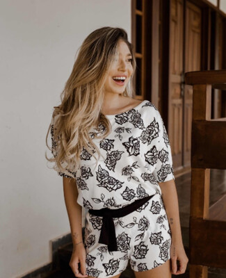 White With Black Roses Sweat Jumpsuit
