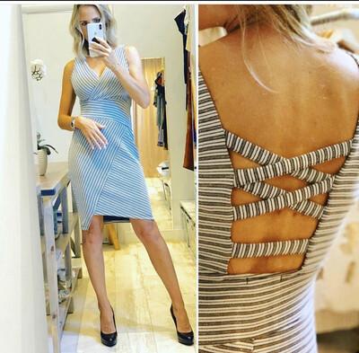 Gray Lurex Striped Dress