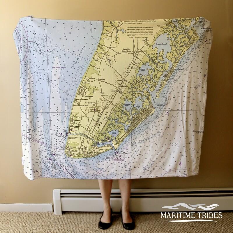 Custom Cape May Blanket-Nautical Chart, 4'x5'