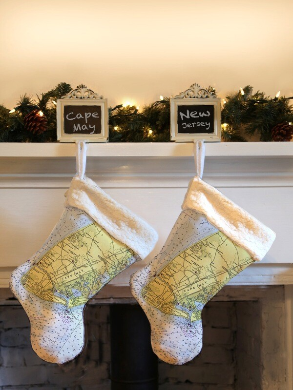 Custom Cape May Map Holiday Stocking