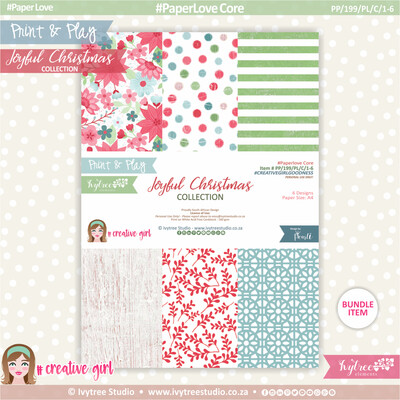 PP/199/PL/C - Print&Play - PaperLove Core Bundle - (A4 x 6) - Joyful Christmas Collection