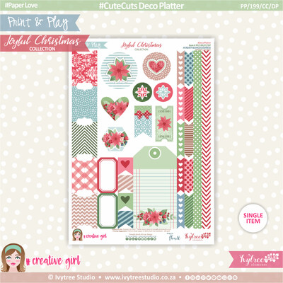PP/199/CC/DP - Print&Play - CUTECUTS - Deco Platter - Joyful Christmas Collection