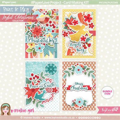 PP/199/PLP/CMK - Print&Play - Ezee Cards - Christmas Card Kit - Joyful Christmas Collection
