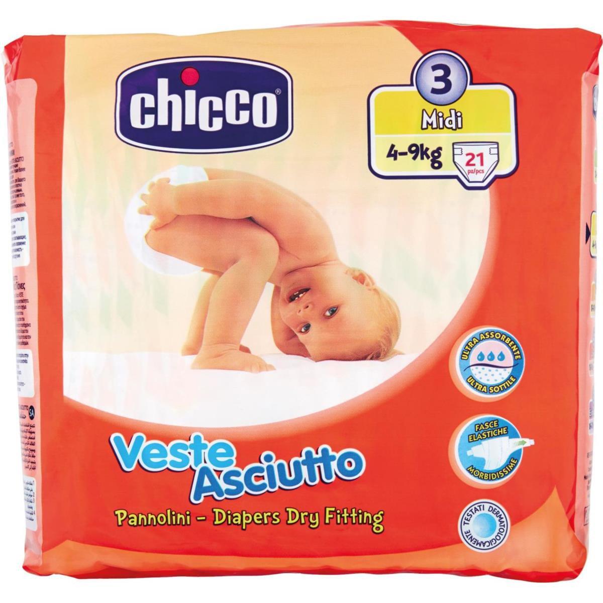 Pannolini Chicco Veste Asciutto 4-9 Kg taglia 3 midi