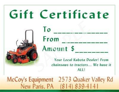 McCoy's Equipment Gift Certificate #2
