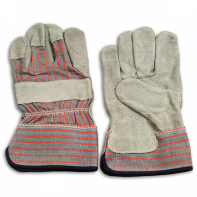 Leather Palm Gloves - Red and Gray