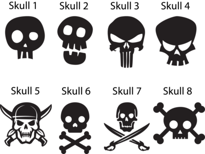 Skull Gun Decal