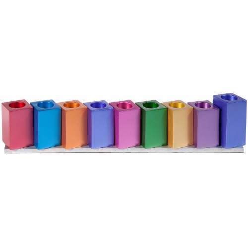 Emanuel Multi Colored Cube Chanukah Menorah