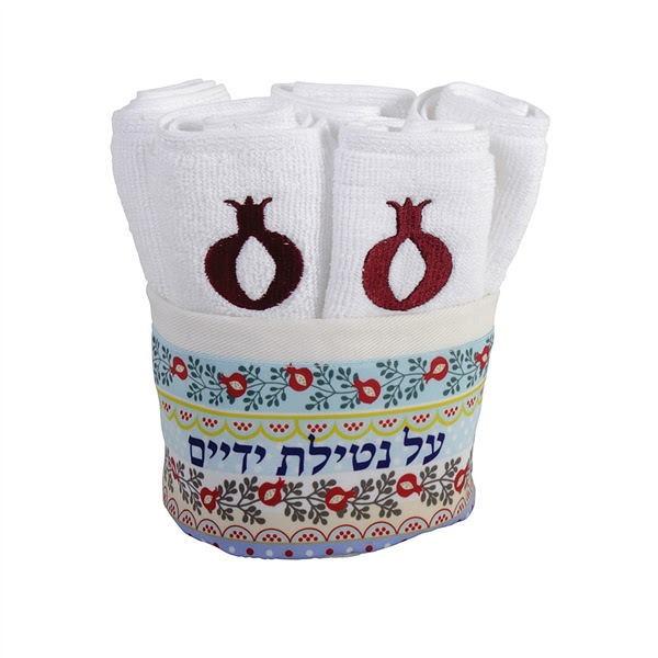 Set of 6 washing towels in holder