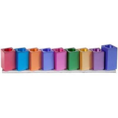 Emanuel Multi Colored Cube Chanukah Menorah