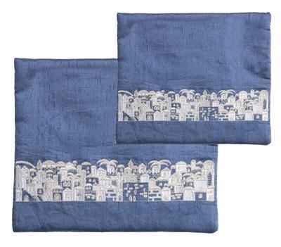 Embroidered Tallit Bag - Jerusalem with White Outline
