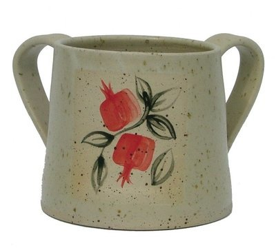 Ceramic Washing Cup with Red Rimonim - White