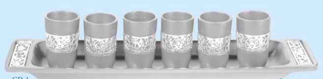 Set of 6 small cups and matching tray