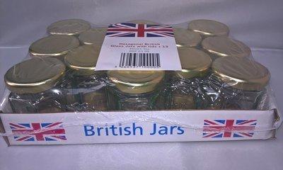 13 x 45ml 1.5oz Mini Hexagonal Jar with Gold Lids