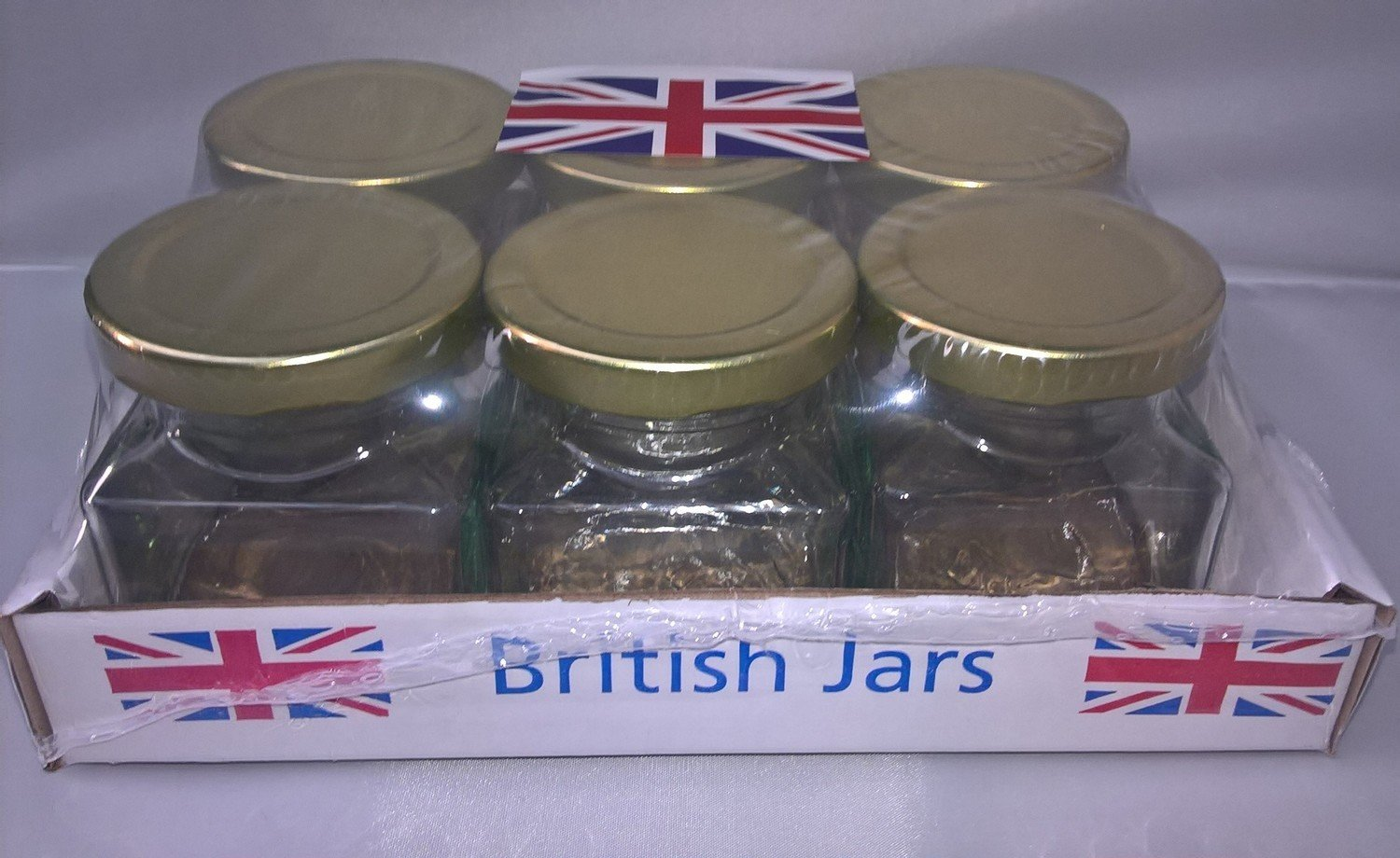6 x 200ml 8oz Square Jars with Gold Lids