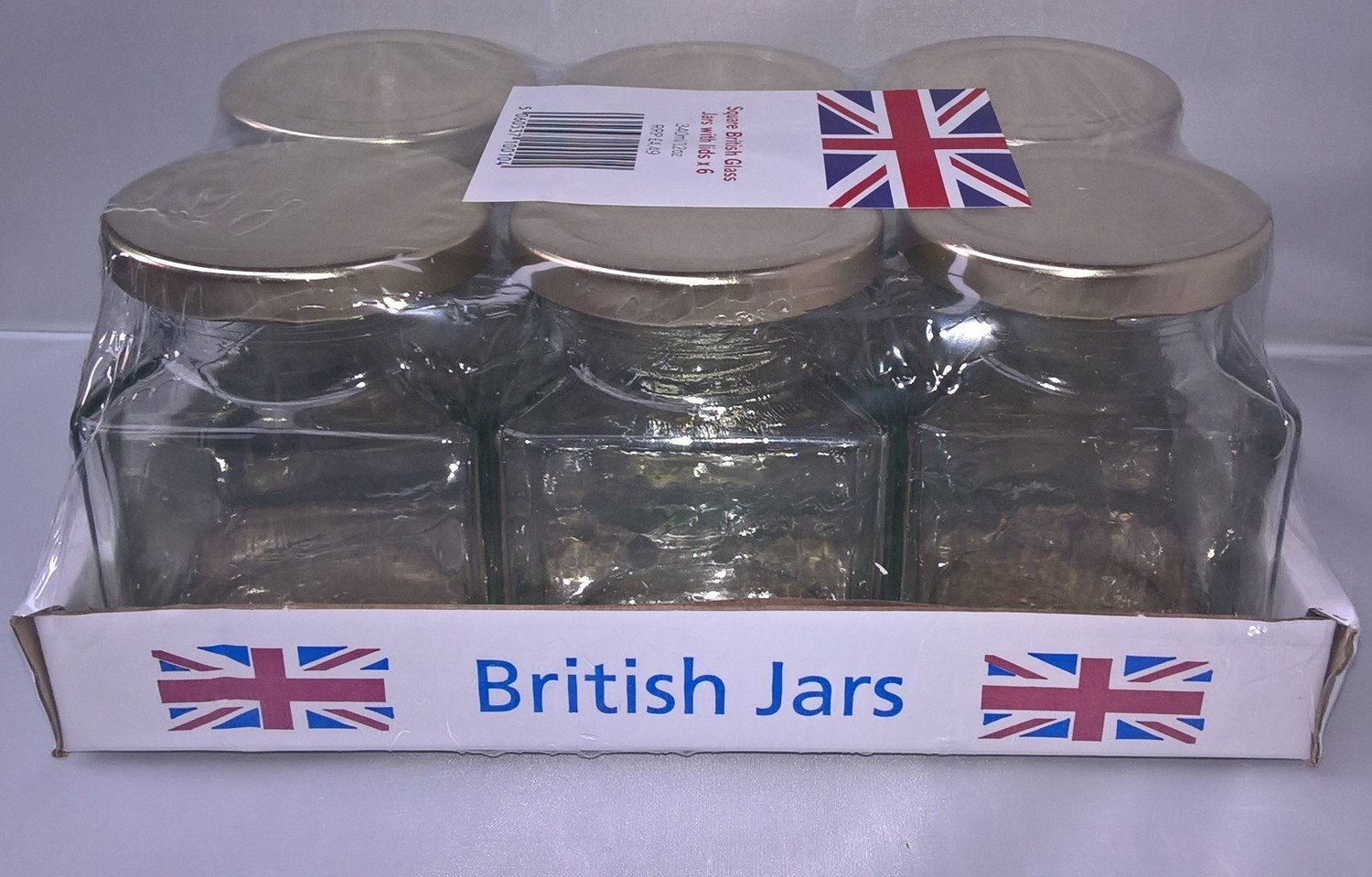 6 x 282ml 12oz Square Jar with Gold Lids