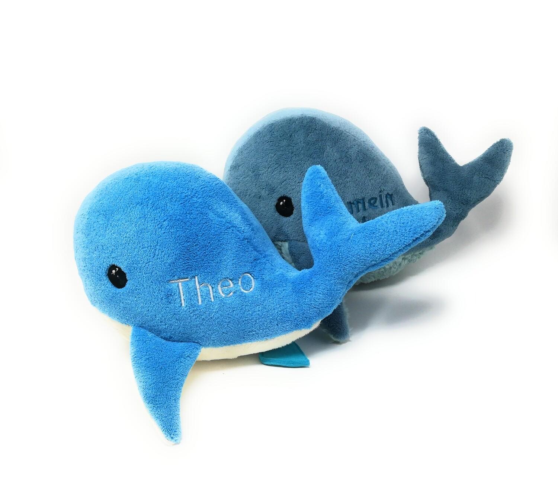 Kuscheltier Wal für Spieluhr blau-creme: mit Namen und Wunschmelodie, aus Öko Teddy Plüsch, mit austauschbarer Spieluhr. Optional mit Geheimtasche/Reißverschluss