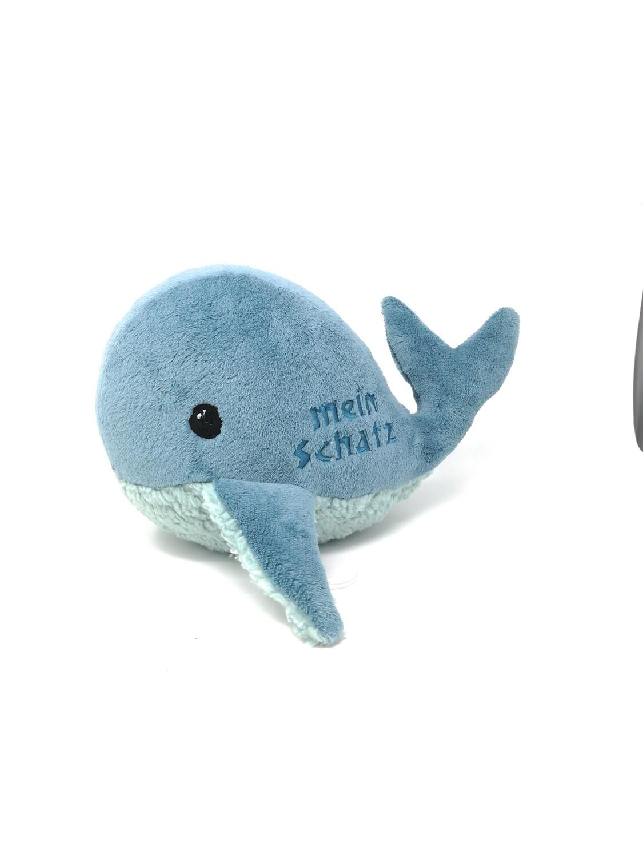 Kuscheltier Wal für Spieluhr helles petrol: mit Namen und Wunschmelodie, aus Öko Teddy Plüsch, mit austauschbarer Spieluhr. Optional mit Geheimtasche/Reißverschluss