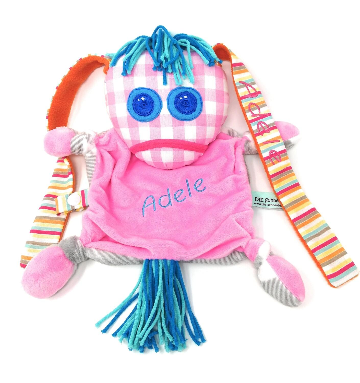 Das kleine Ich Bin Ich Stofftier Schmusetuch rosa personalisierbar mit Namen aus Öko Baumwolle, groß. Geschenk zum Geburtstag, Einschulung