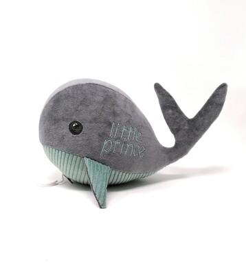 Kuscheltier Wal für Spieluhr Little Prince helles petrol-grau,aus Baumwolle, mit austauschbarer Spieluhr, Geheimtasche mit Reißverschluss. Sofort lieferbar