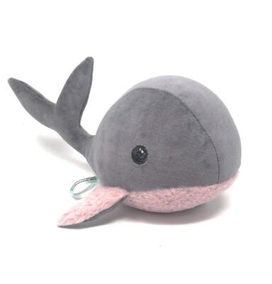 Kuscheltier Wal für Spieluhr helles rosa-grau: mit Namen und Wunschmelodie, aus Öko Teddy Plüsch, mit austauschbarer Spieluhr. Optional mit Geheimtasche/Reißverschluss