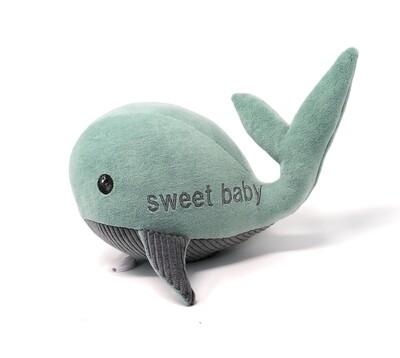 Kuscheltier Wal für Spieluhr sweet baby helles petrol-grau,aus Baumwolle, mit austauschbarer Spieluhr, Geheimtasche mit Reißverschluss. Sofort lieferbar