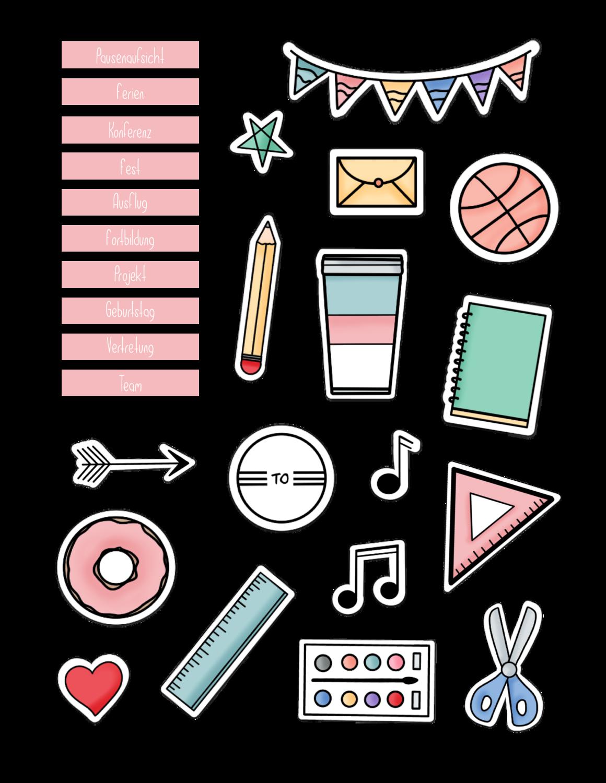 Sticker go digital Lehrerplaner rosa /weinrot