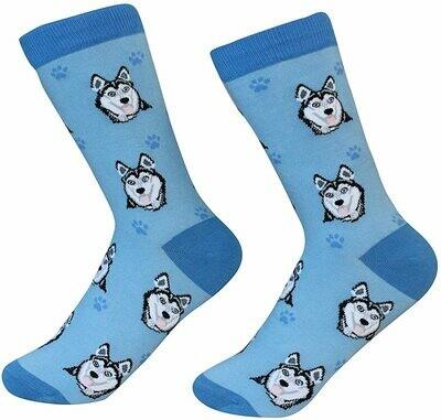Blue Siberian Husky Socks